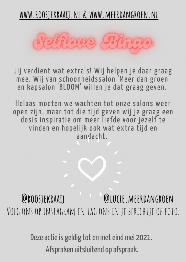 bingo kaart bloom selfcare amersfoort wellness